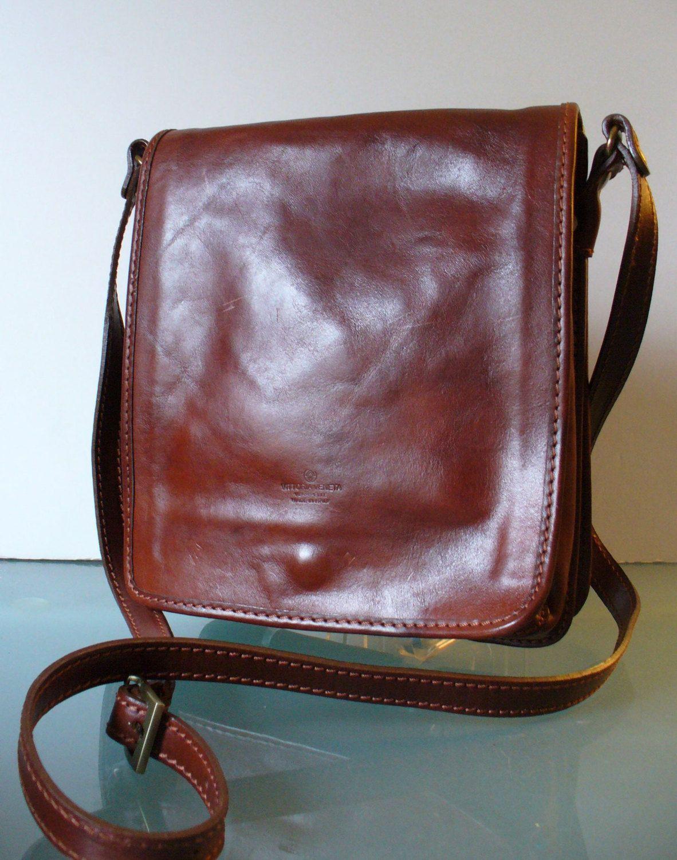 Vintage Brown Leather Crossbody Handbag Made in Italy