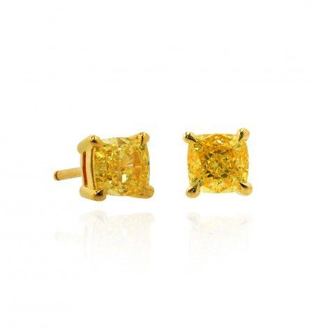 1.25Ct TW Fancy Intense Yellow Stud Earrings