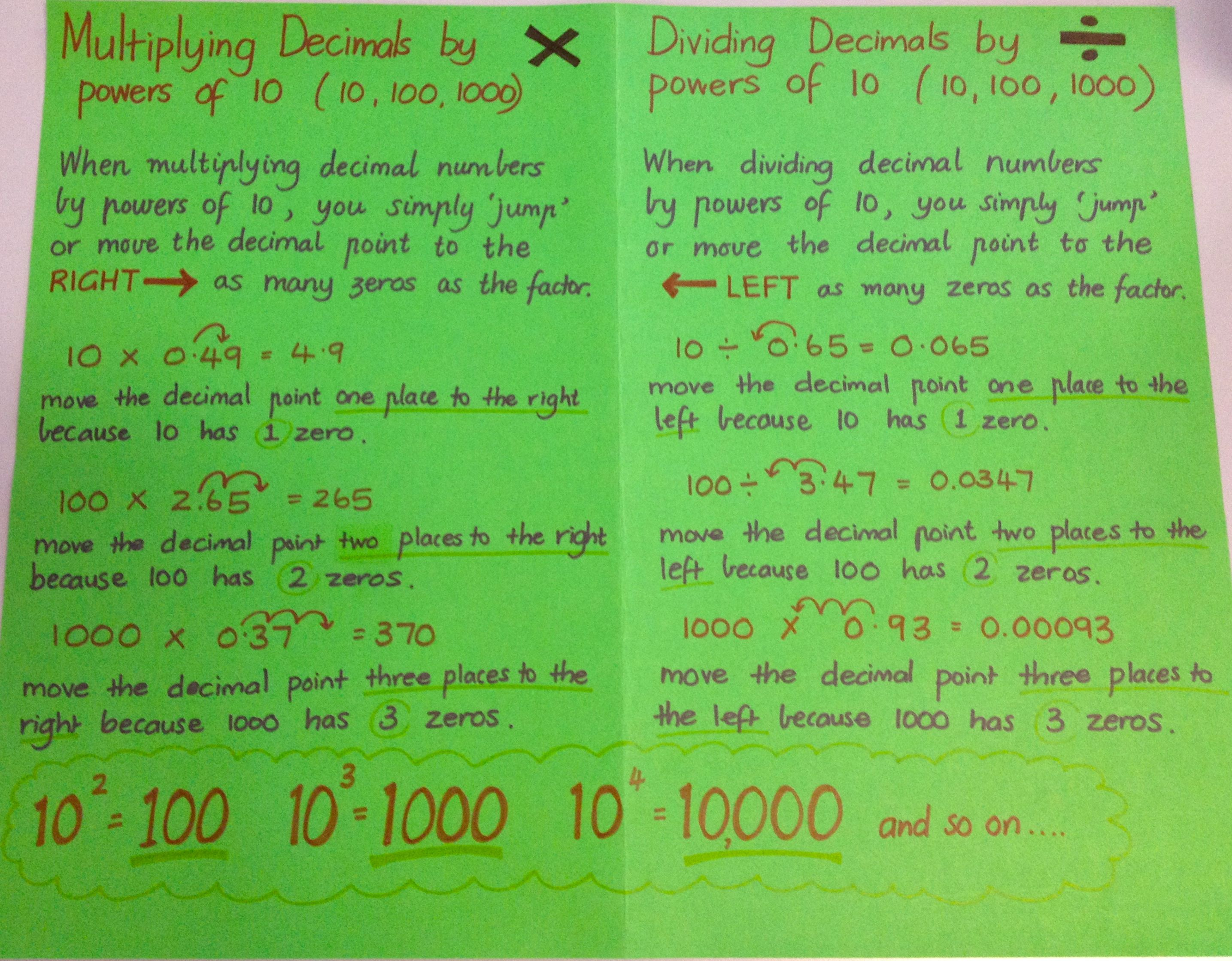 Mutiplication And Division Of Decimals By Powers Of 10