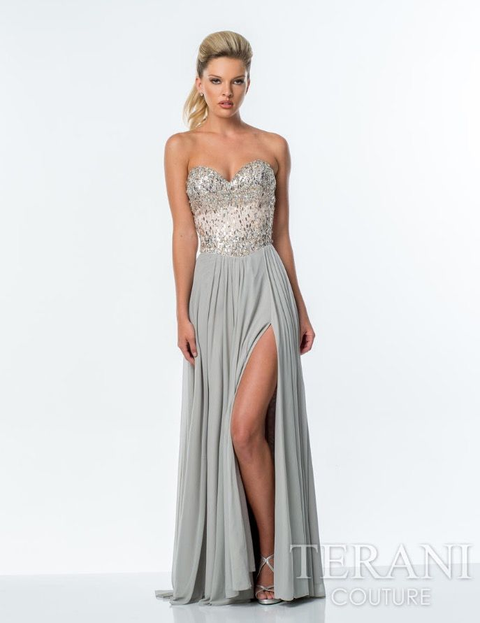 b7bca734620 Mesh a-line gown featuring a strapless