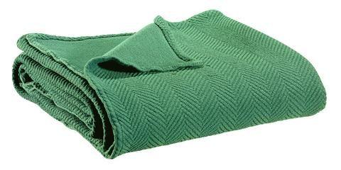 Hbc Bout De Lit Plaid Lin Coton Boris Vert De Gris 90x240 Cm