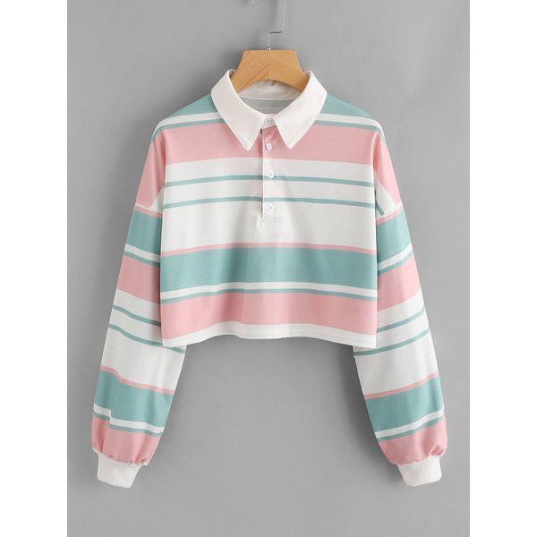 9cf259106 SheIn(sheinside) Drop Shoulder Striped Crop Pullover ( 15) ❤ liked on  Polyvore featuring tops