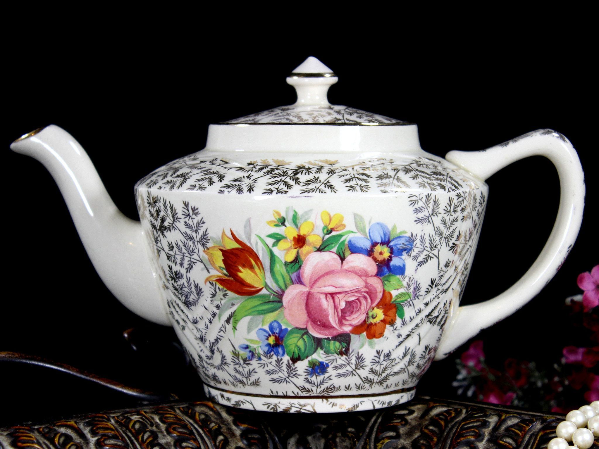 Rare Sadler Gilt Chintz Teapot, 4 Cup Sadler Porcelain Tea Pot. Vintage Sadler England Ceramic Floral Tea Pot w/ Gold Fern Pattern Gilt. This pot features bright oranges, yellows, and browns in a flor