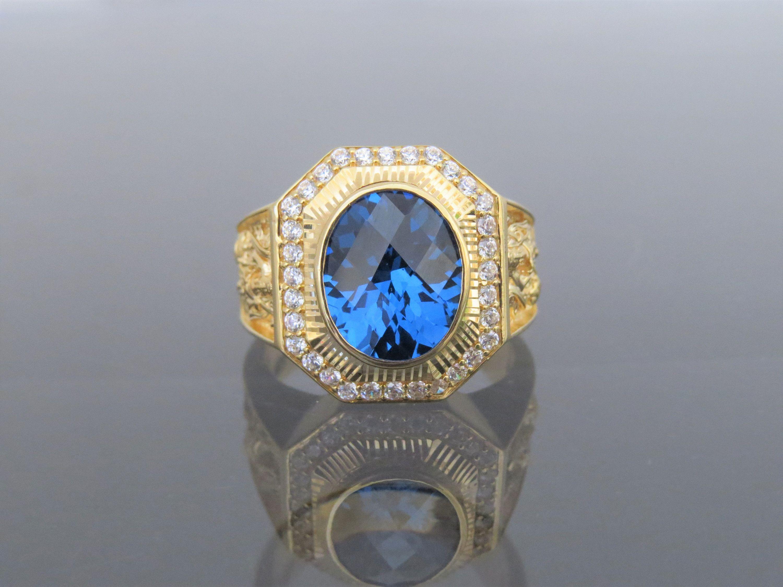Vintage Sterling Silver Blue Sapphire /& White Topaz Men/'s Ring Size 10