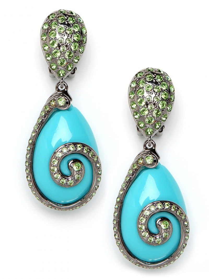Drop earrings featuring turquoise-colored stones with crystal pave and 22kt gold-plated swirls by Bauble Bar, $170.
