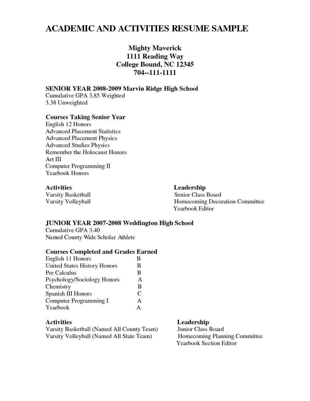 Resume writing lessons for high school students
