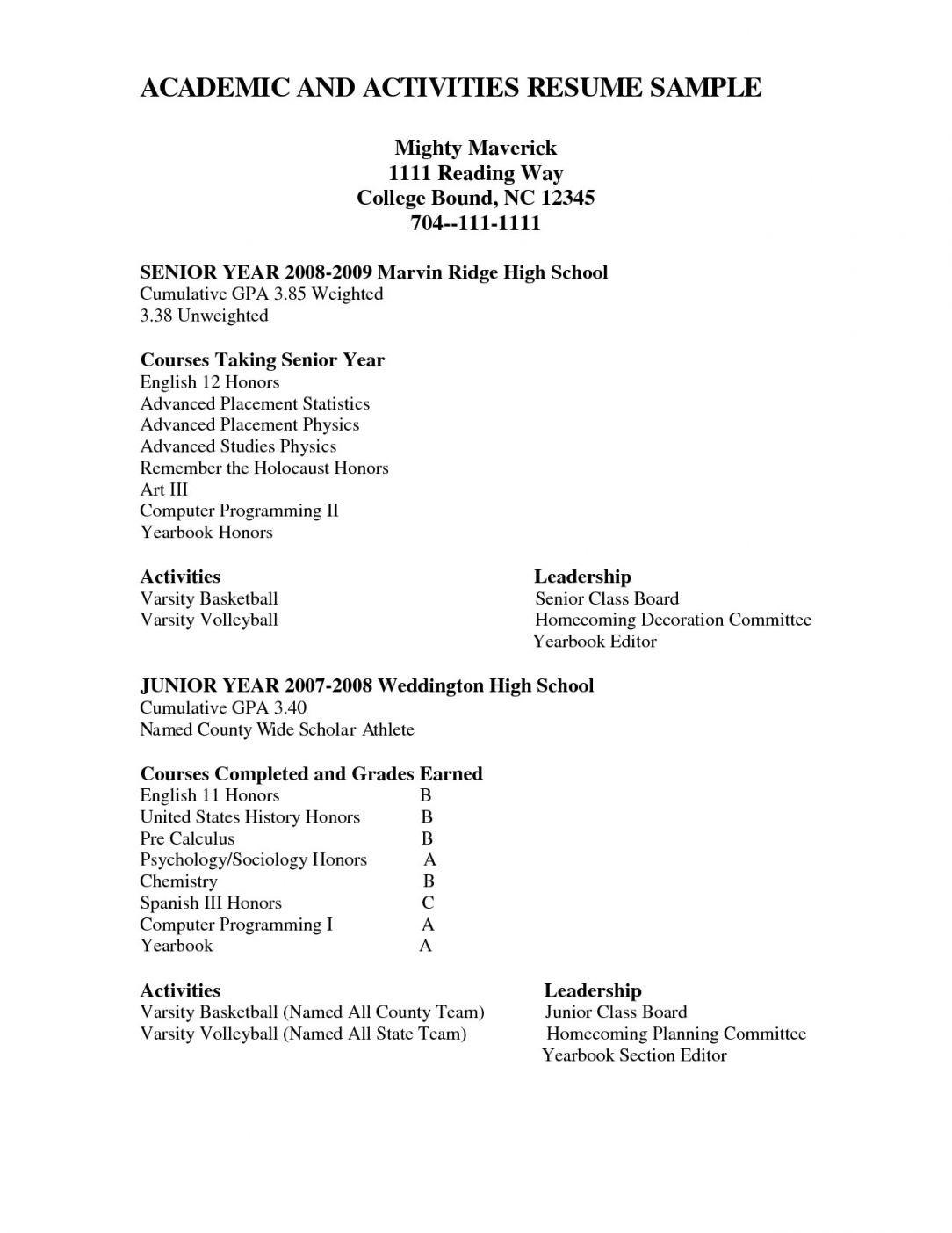 Activities High School Resume High School Resume Template