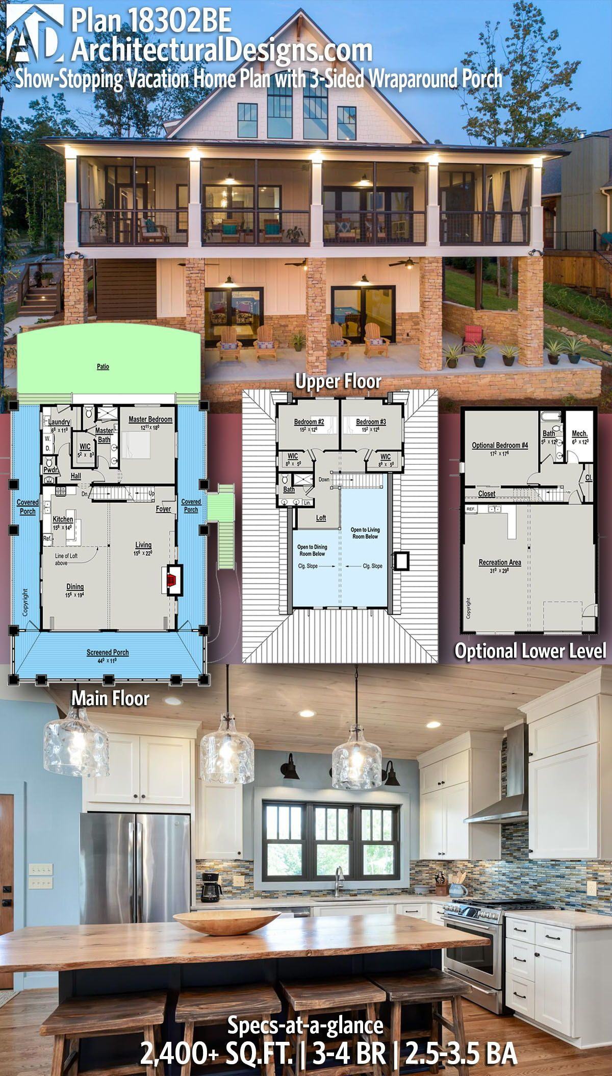 Plan 18302be Exclusive Show Stopping Vacation Home Plan With 3 Sided Wraparound Porch In 2020 House Plans Craftsman House Plans Vacation Home