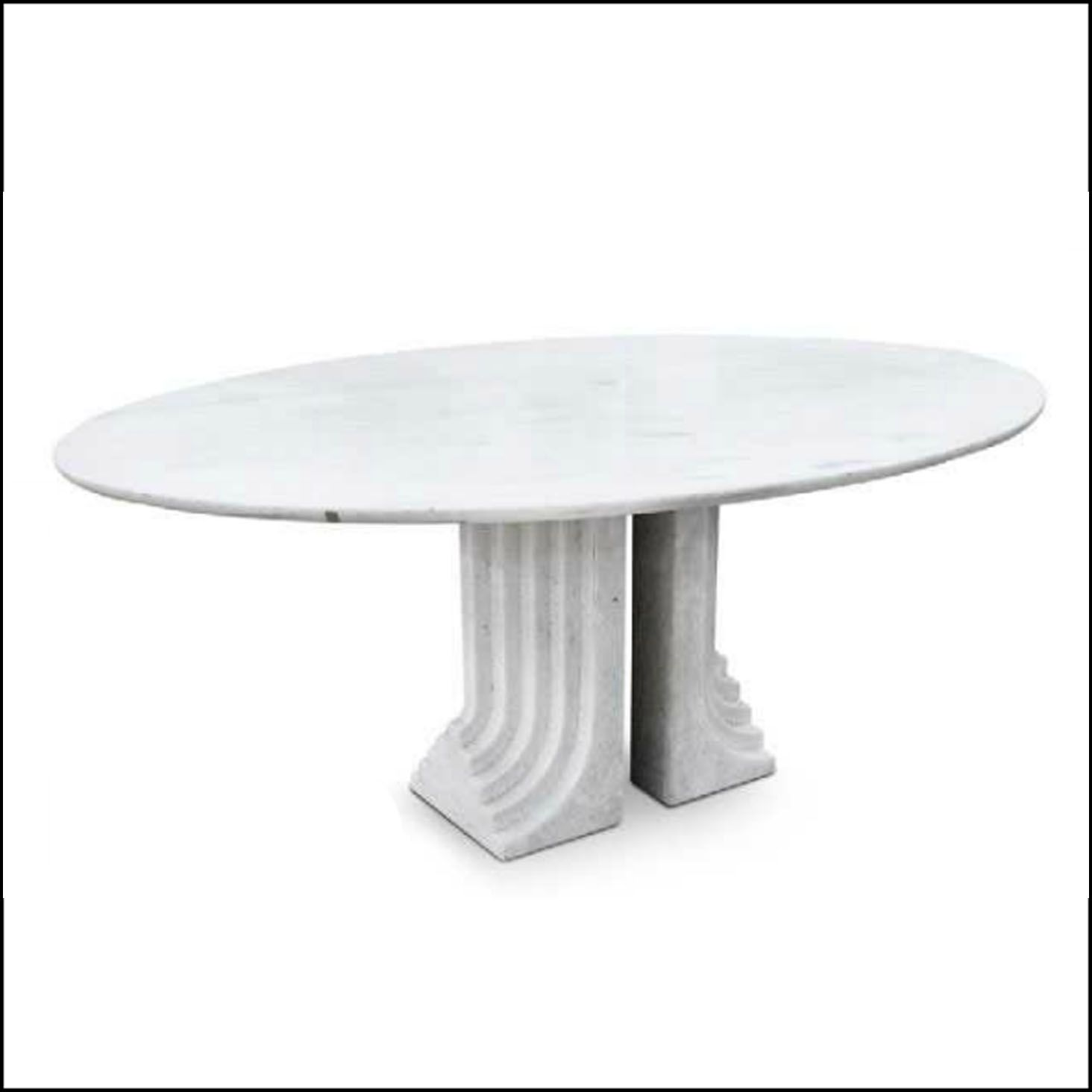 Dining Room Table Samo Carlo Scarpa 1970 Oval table in white marble ...