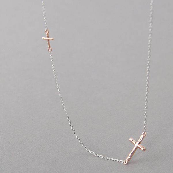 Rose Gold Tiny Hammered Sideways Crosses Necklace Sterling Silver
