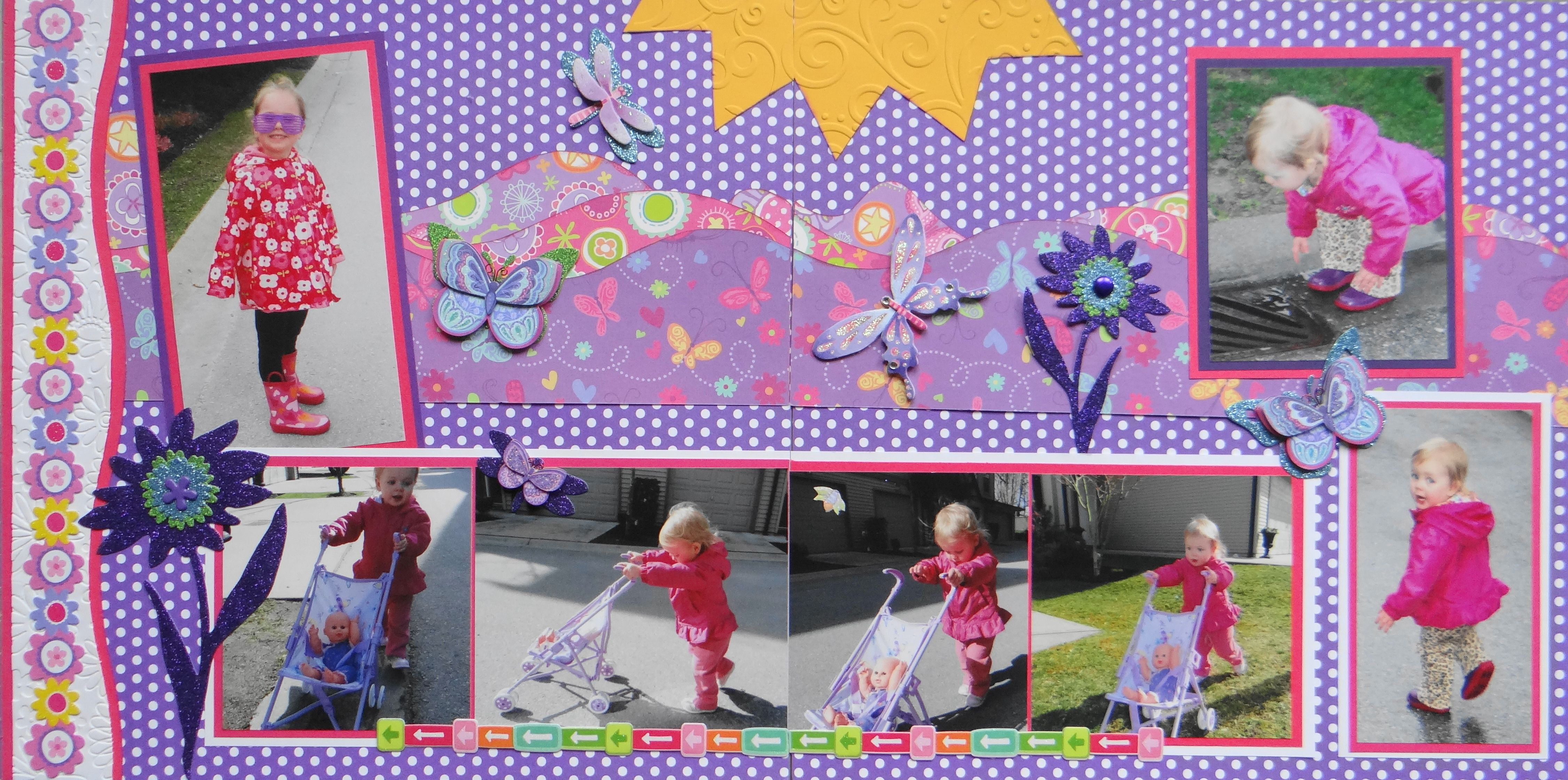 Scrapbook ideas with flowers - Scrapbook Page Stroller Girl 2 Page Girl Layout With Flowers And Butterflies From Everyday