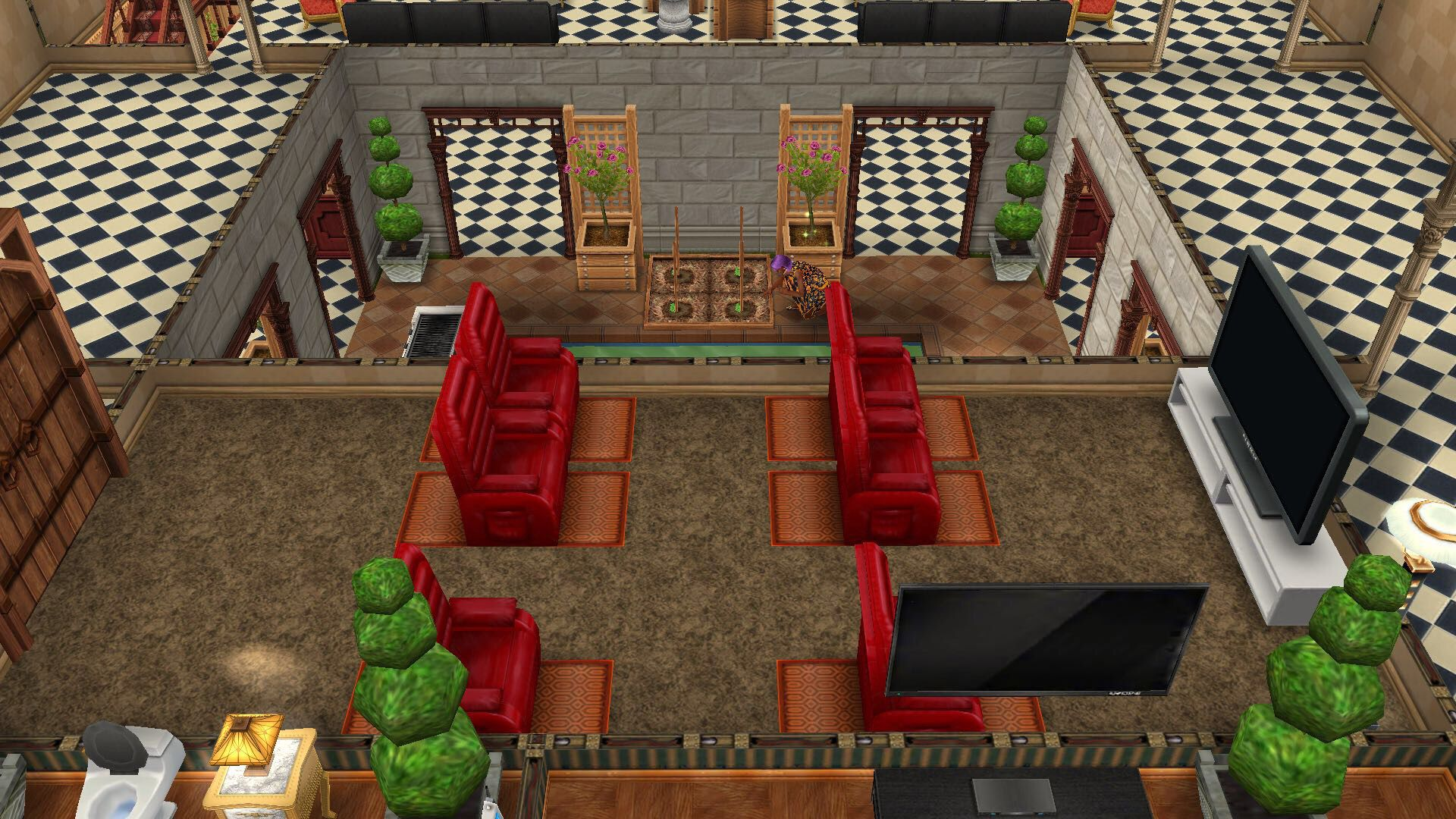 My Sims Free Play Fancy House 2nd floor family mini cinema room