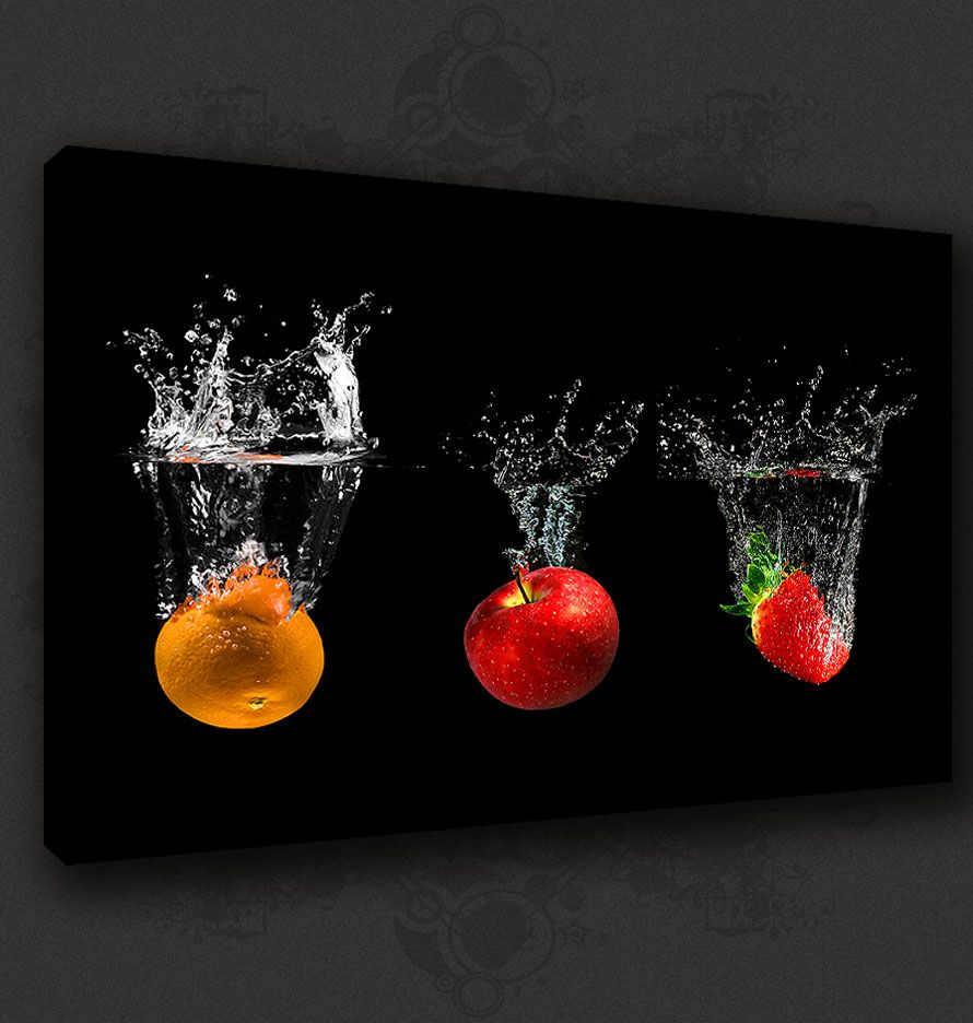 Black fruits splash modern kitchen art canvas print poster for Black kitchen wall decor