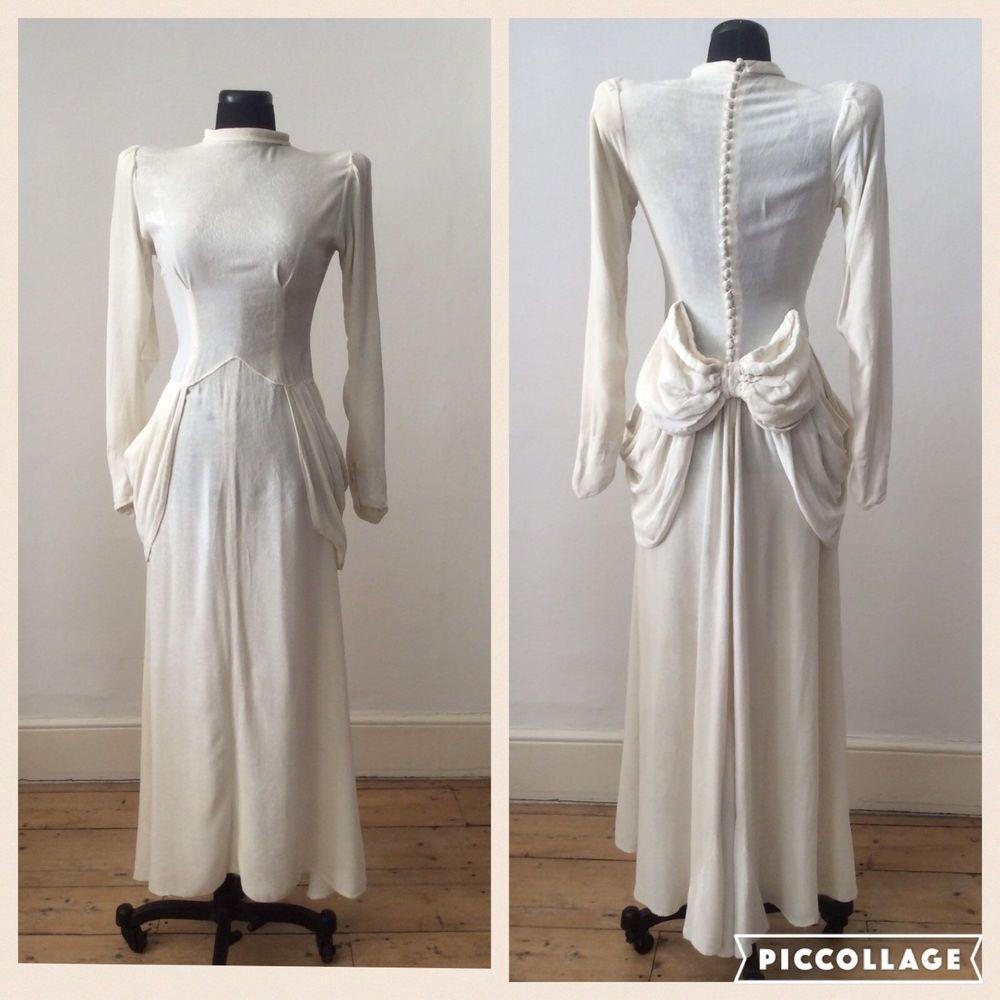 Incredible Vintage 1930s Deco Silk Cream White Velvet Wedding Dress Bow XS