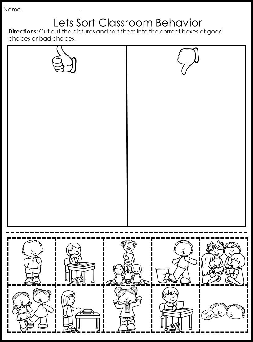 Behavior Picture Sorts Back To School Kindergarten Worksheets Behavior Counseling Worksheets [ 1104 x 816 Pixel ]