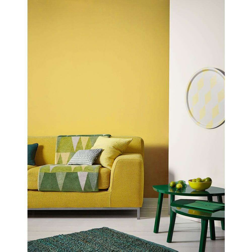 Crown Mustard Jar Matt Emulsion Paint 2 5l Yellow Living Room Yellow Room Farm House Living Room