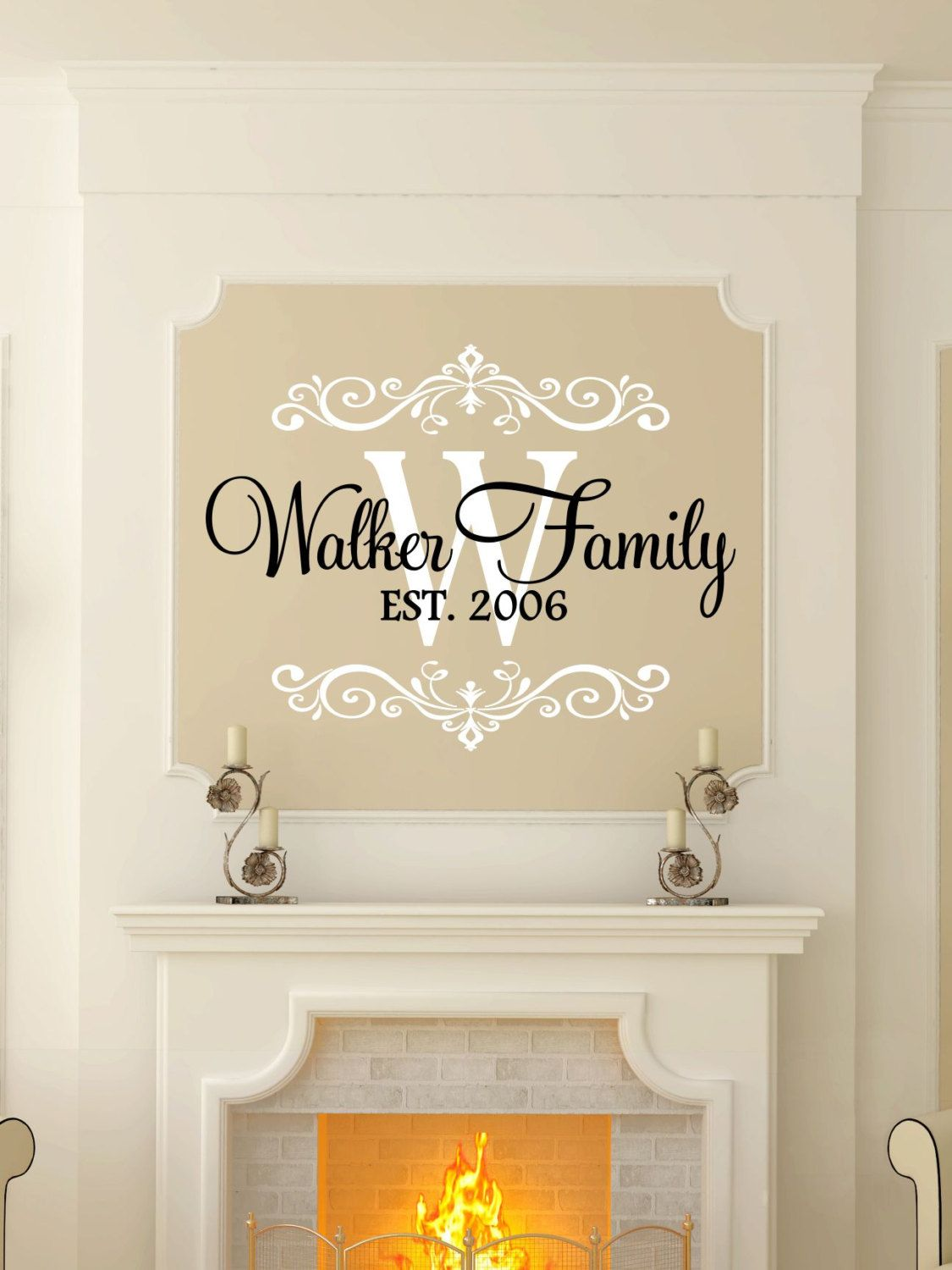 Custom Last Name Monogram Vinyl Decal Set Family Vinyl Wall - Vinyl decals for walls etsy