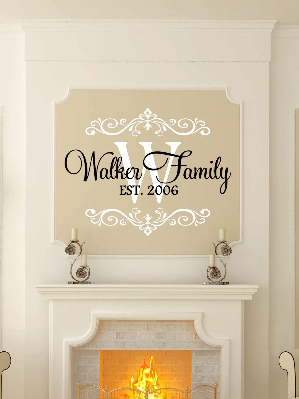 Custom last name monogram vinyl decal set family vinyl wall art decal family name vinyl personalized home decor living room