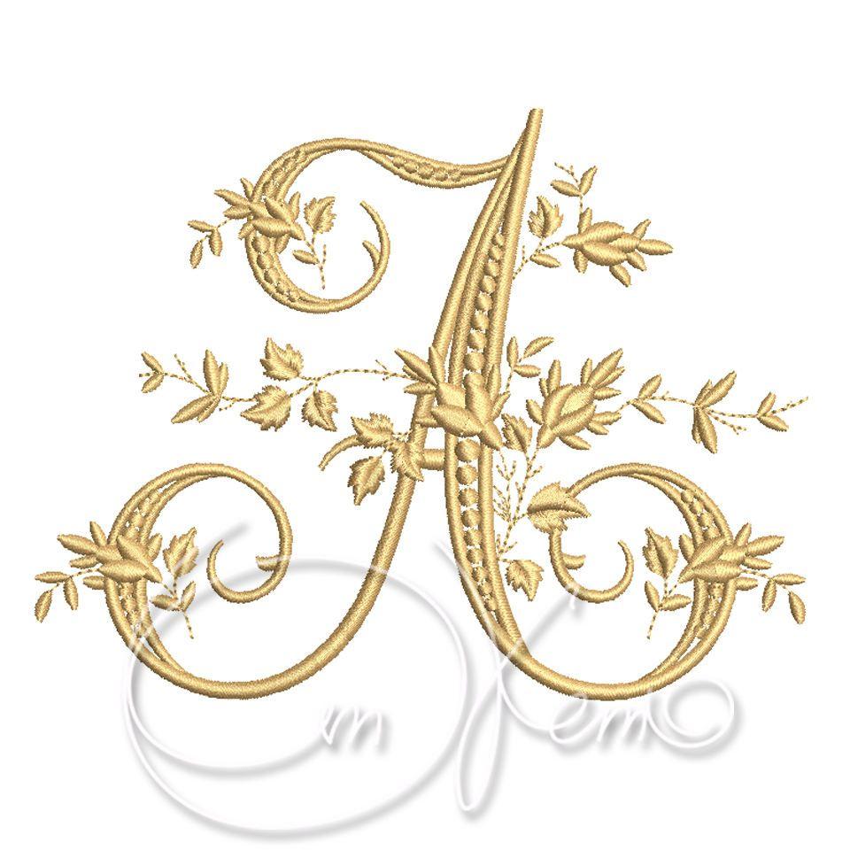 Machine embroidery design victorian letter a