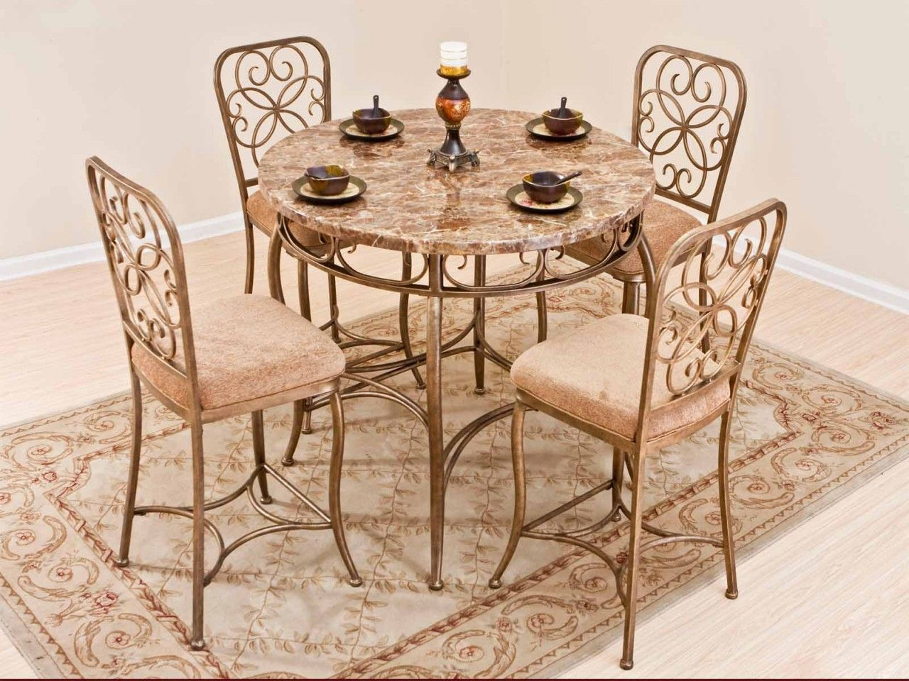 dining room sets from iron wrought patio tables five piece salterini ...