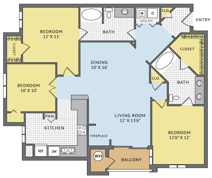 Bedroom Fireplace, Floor Plans