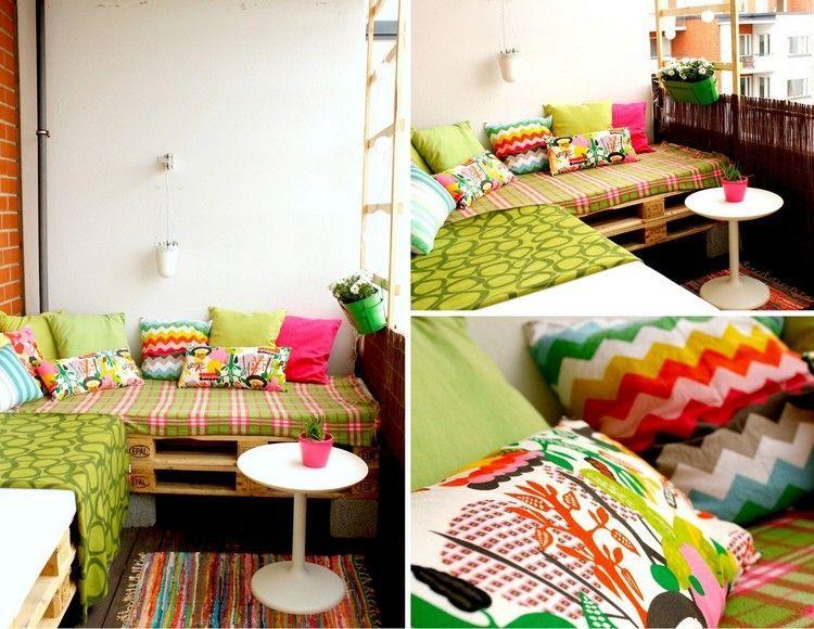 Sofa Auf Dem Balkon Aus Paletten Und Bambus Sichtschutz | Garten ... Bambus Sichtschutz Balkon Bauen