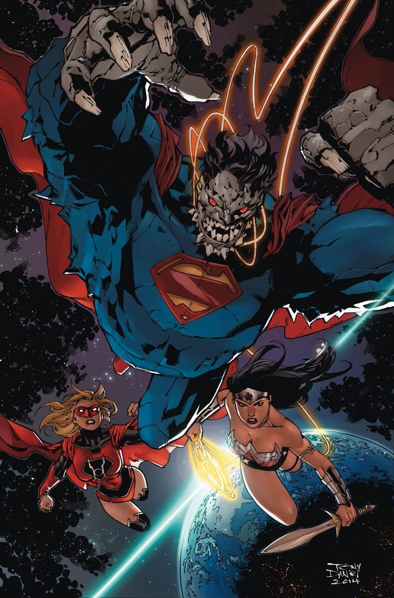 Doomsday Superman, Red Lantern Supergirl & Wonder Woman by Tony Daniel.