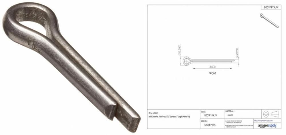 18-8 Stainless Steel Cotter Pin 1//2 Length 3//32 Diameter Pack of 100 Plain Finish