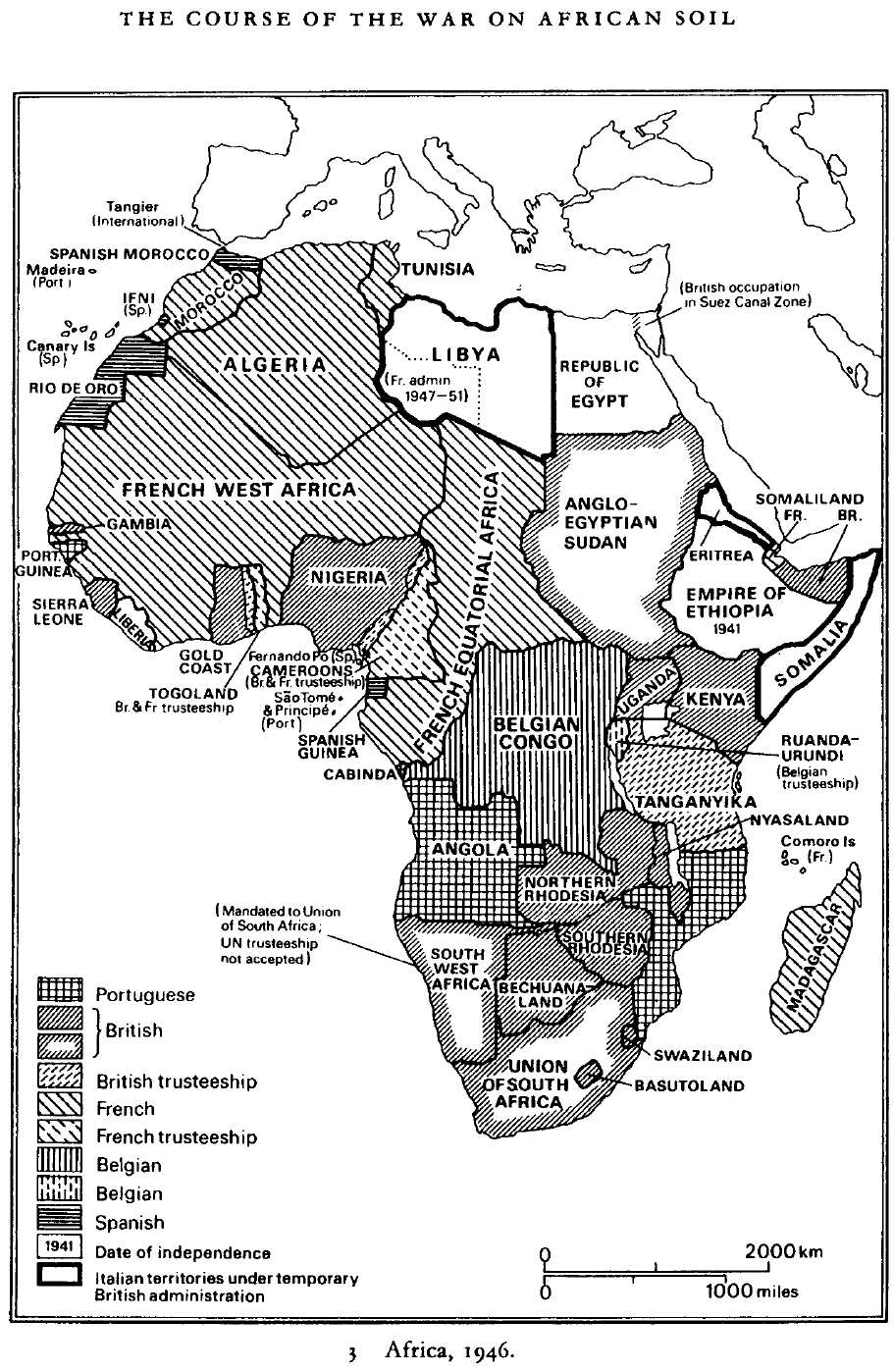African Colonialism 1946 [911x1398] | Africa map, African ...