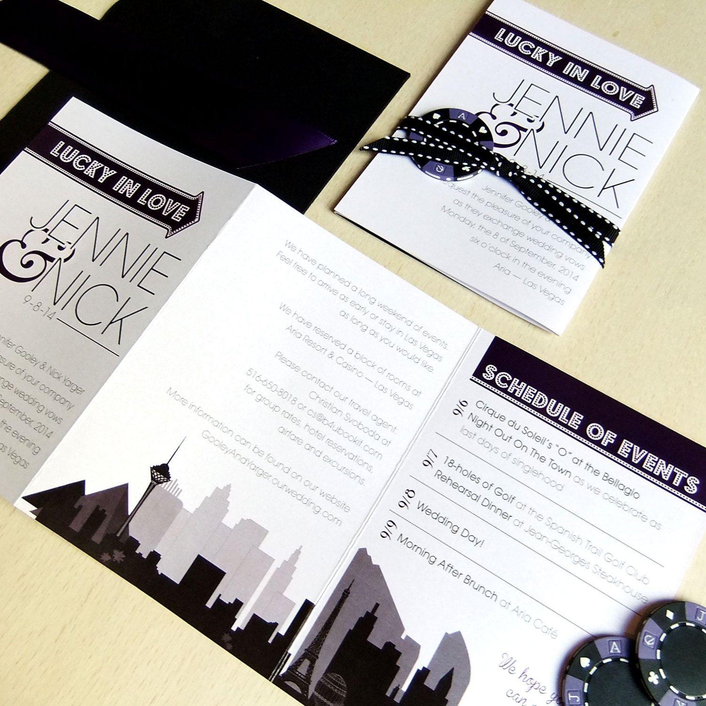 Destination Wedding Invitation Las Vegas by emilyedsondesign   Las ...