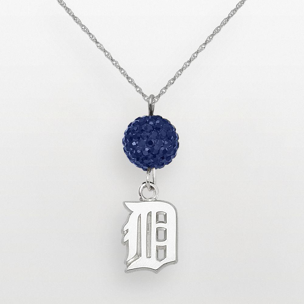 Logoart detroit tigers sterling silver crystal logo pendant womenus