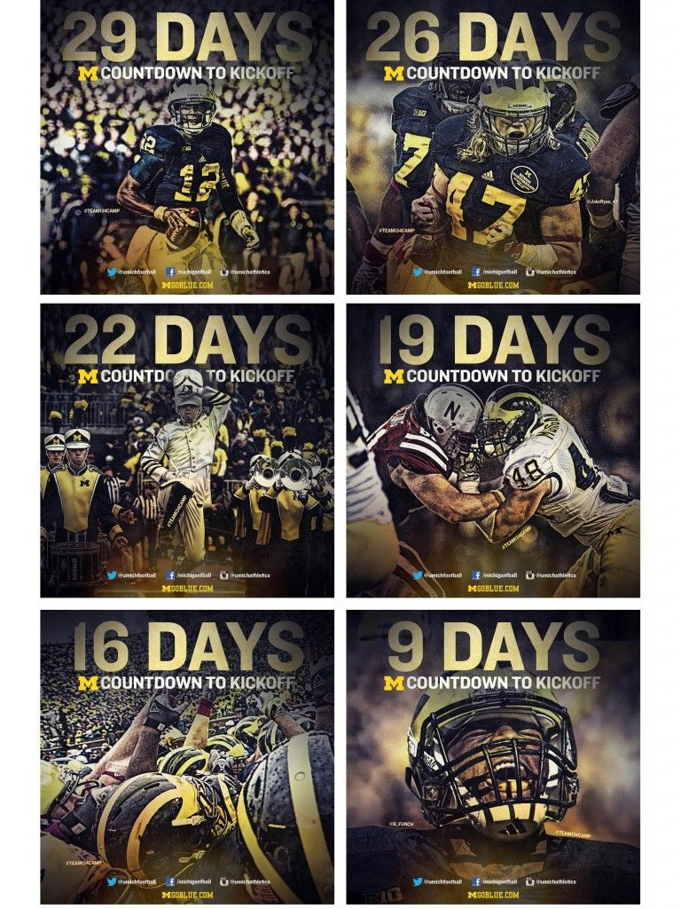 Michigan Countdown To Kickoff Sports Marketing Countdown Sports Design