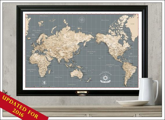 World travel mapia and australia centered map framed and with a world travel mapia and australia centered map framed and with a set of push pins modern geography map 205 gumiabroncs Gallery