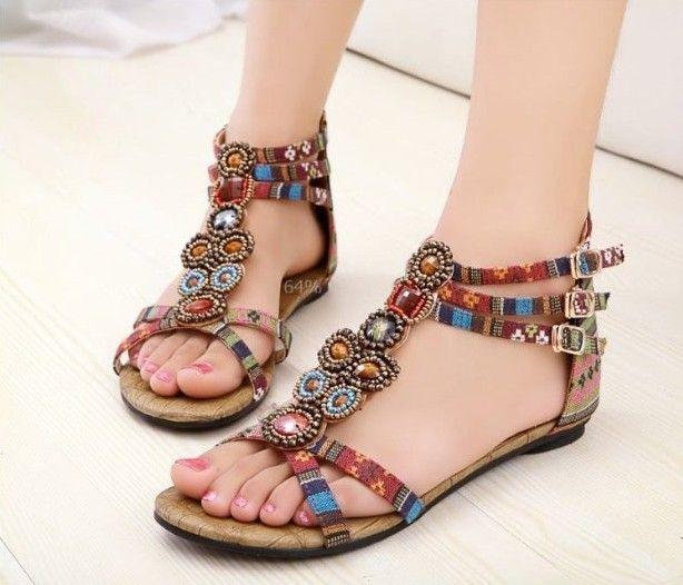 women summer shoes 2013 Ethnic Style New Fashion lady sandals women Roman  sandal Bohemian Sandals large size 34-41 Free Shipping  32.50 7c5b3160c255