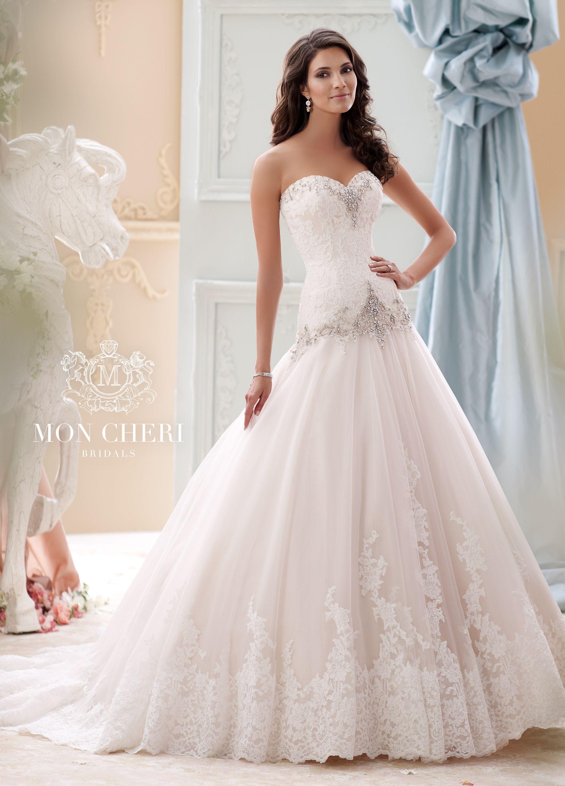 Beaded Dropped-Waist Taffeta Ball Gown Wedding Dress- 115228 Ocean ...