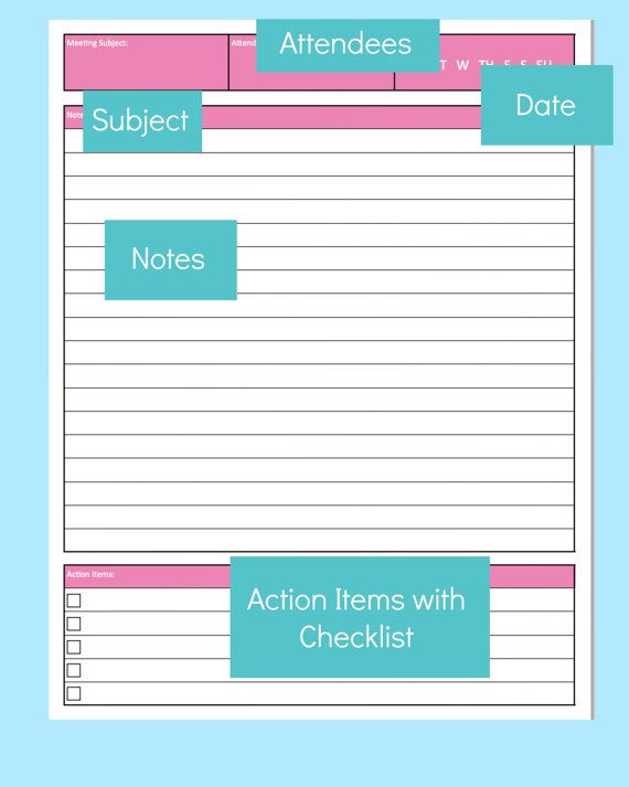 Printable Meeting Notes Template- includes attendees, date, notes ...