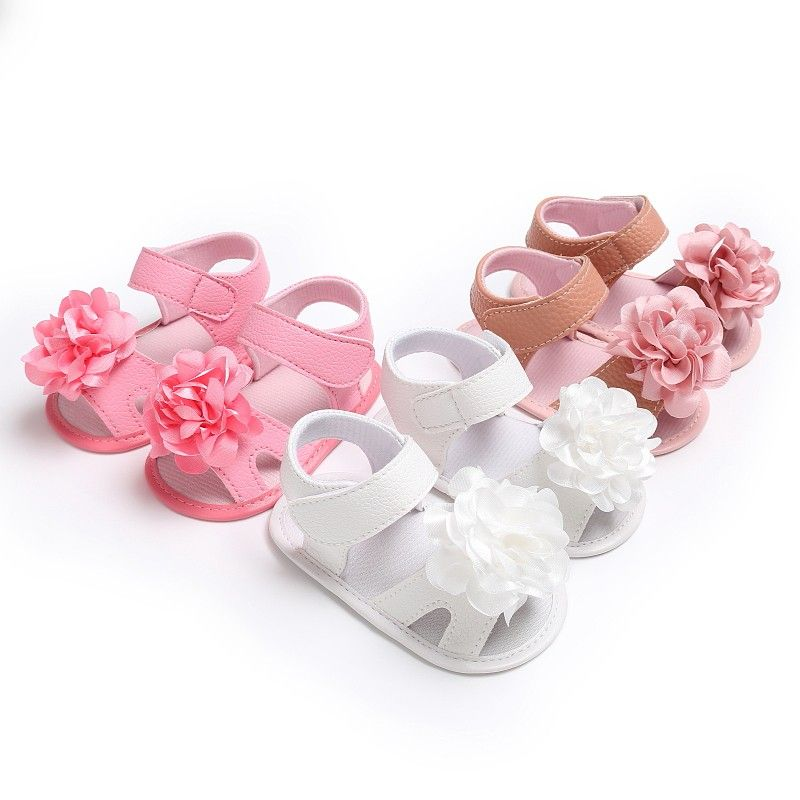 Newborn Baby Kids Girls Flower Party Princess Sandles Soft Sole Lace Crib Shoes