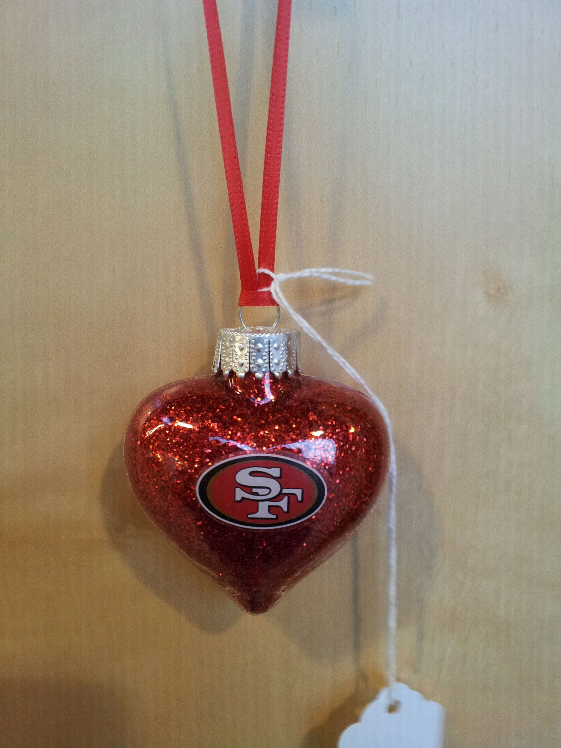 Handmade glass christmas ornaments - San Francisco 49ers Glittered Heart Handmade Glass Christmas Ornament