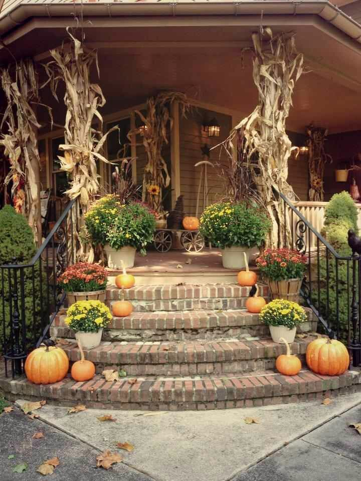 New wrap around front porch with stairs like this he - Fall porch decorating ideas ...