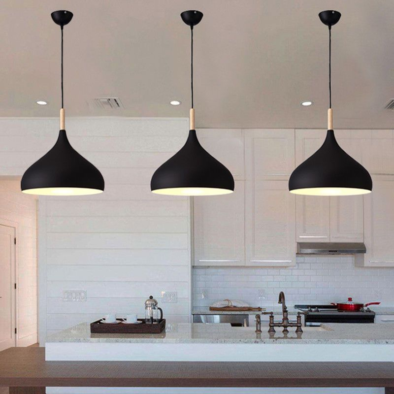 3x Kitchen Pendant Light Modern Ceiling Lights Bedroom Black Chandelier Lighting Modern Wood Pendant Light Wood Pendant Light Modern Ceiling Light