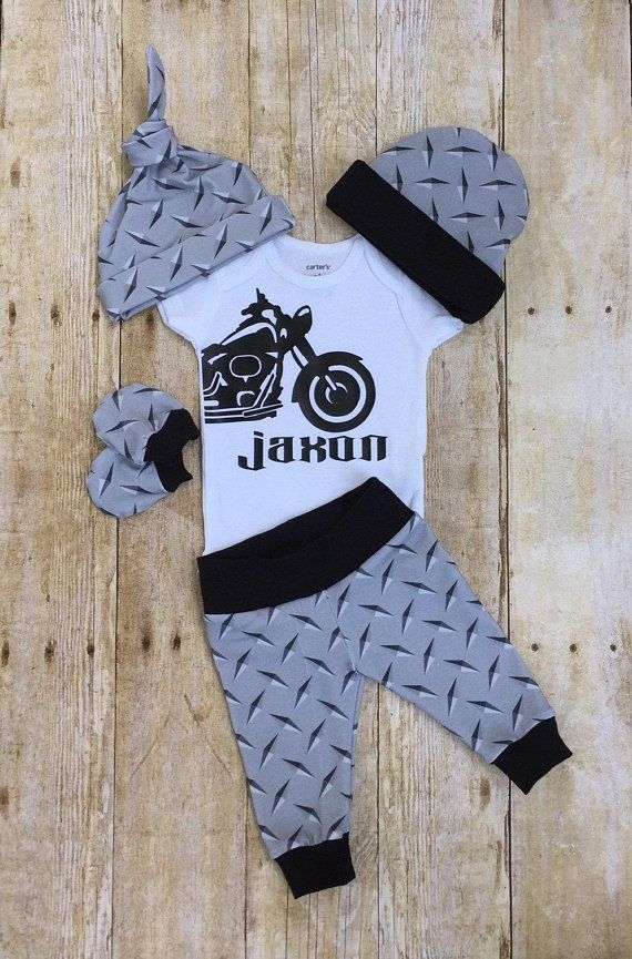 Photo of Motorcycle Baby Boy Take Home Outfit, Coming Home Baby Boy Outfit, Take Home Newborn Outfit, Biker Boy Layette and Hat Set, Baby Shower Gift