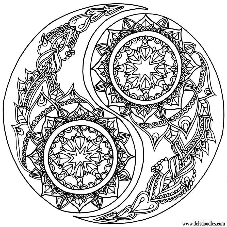 Yin Yang Coloring Page Mandala Coloring Pages Coloring Pages Mandala Coloring
