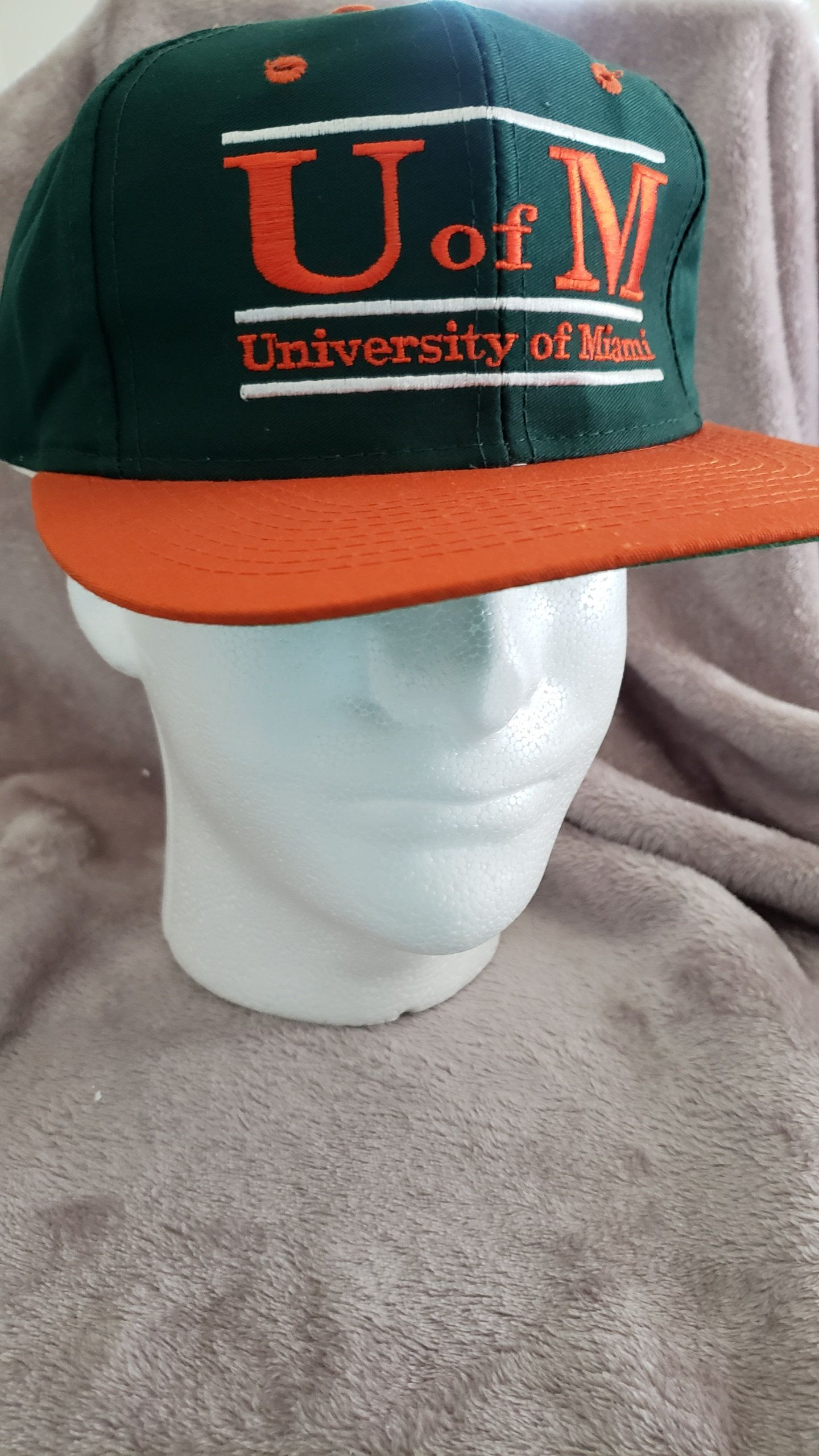 Vintage 90 s NCAA University of Miami Hurricanes Two Tone Bar The Game  Snapback Hat Cap by RackRaidersVtg on Etsy 3dc49d79e8fe