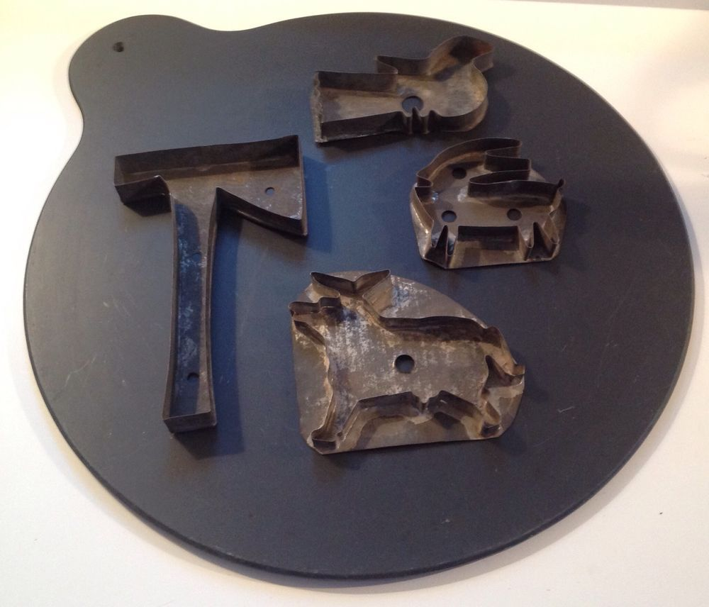 Early 20th C. Eastern Pennsylvania Slate Doughboard or Bakeboard cheese and cookie cutters...