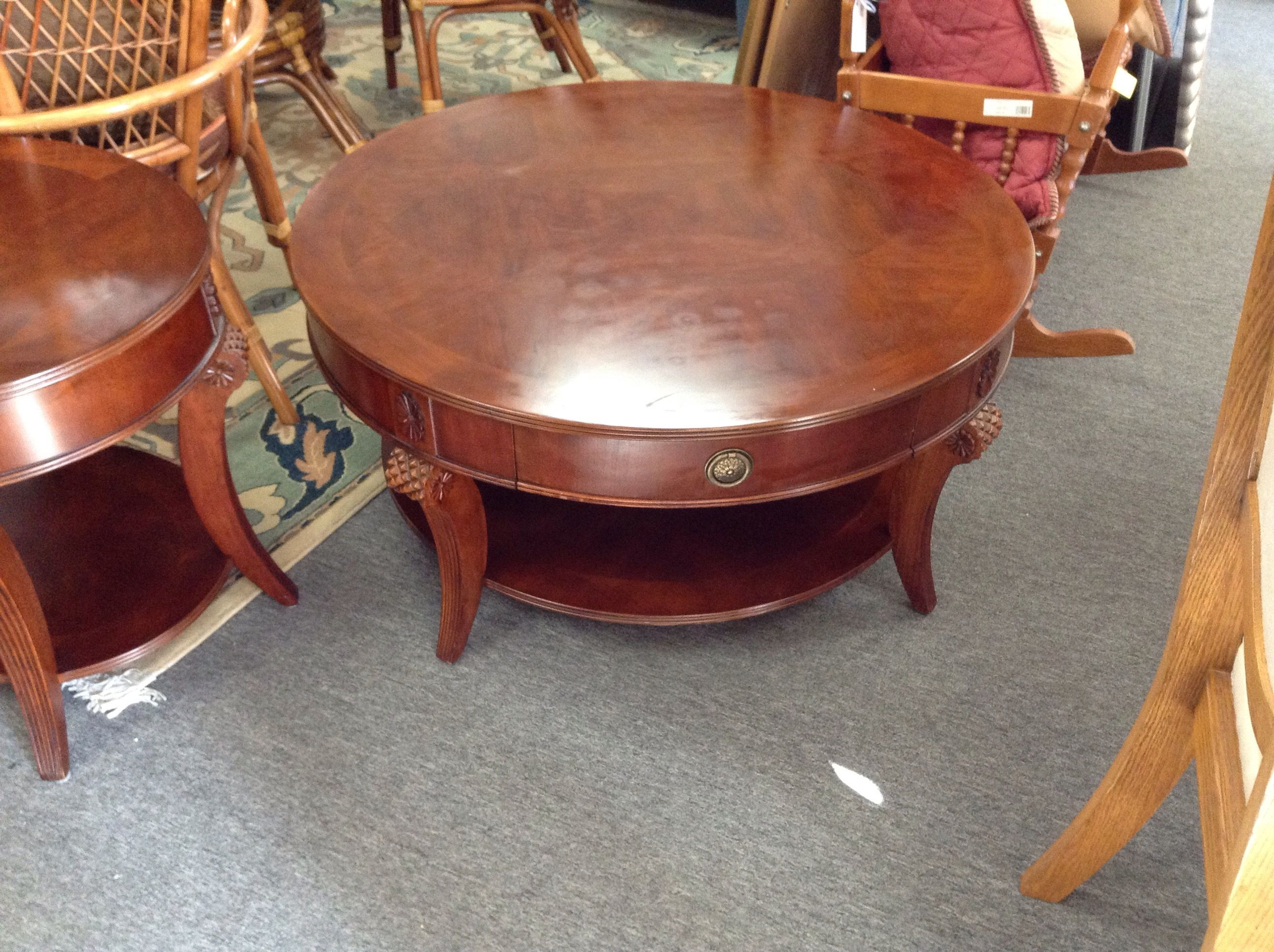 Round Cherry Coffee Table   Wood Table 48 Inch Diameter. Two Drawers. Item  21028