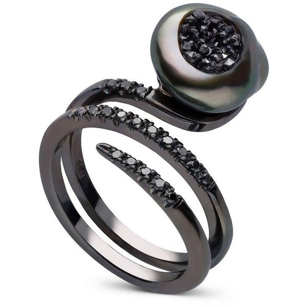Tahtian Keshi Pearl and Black Diamond Ring (€2.500) ❤ liked on Polyvore featuring jewelry, rings, black pearl diamond ring, 14k ring, 14 karat gold ring, pearl jewelry and pearl jewellery