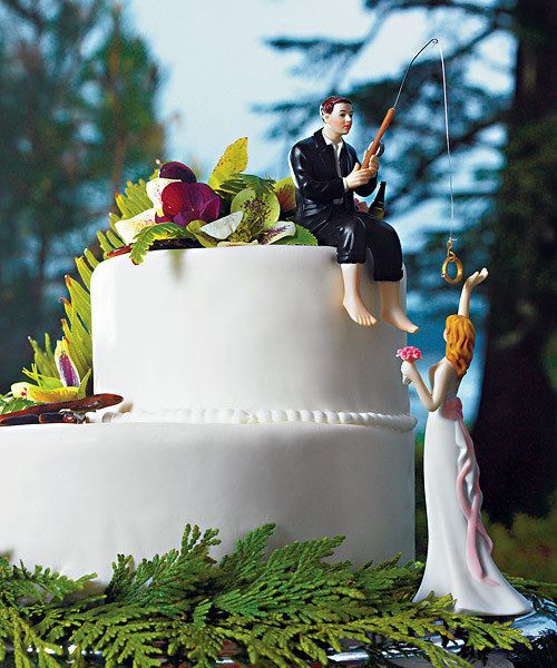 Hooked On Love Fishing Couple Wedding Cake Topper Custom Hair Colors Available