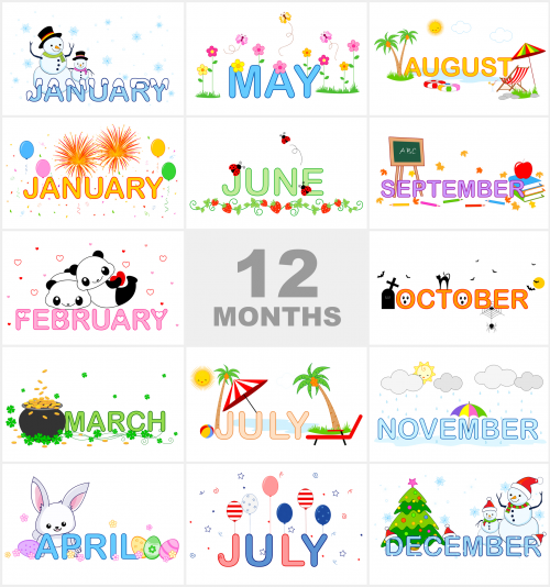 Months of the Year Printable Visual Aid Clip art