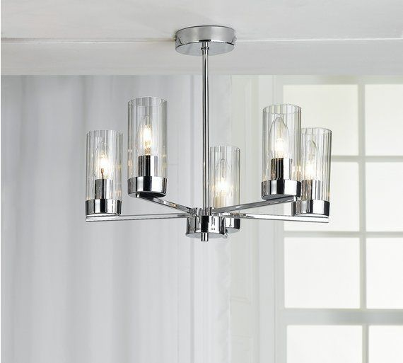 Buy Heart Of House Wallis Light Glass Ceiling Light Chrome At - Kitchen light fixtures argos