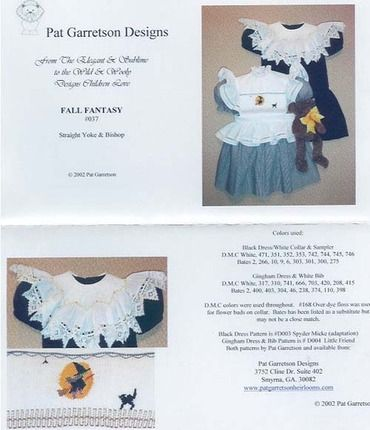 Fall Fantasy smocking design plate by Pat Garretson.  A witch silhouette in the moon with a black cat.  Available at www.chadwickheirlooms.com